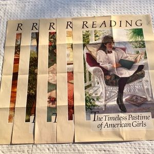 FIVE VINTAGE AMERICAN GIRL READING POSTERS